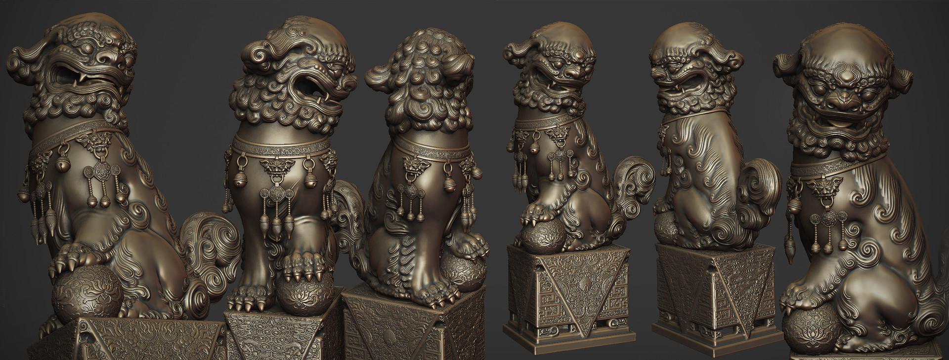Zhelong xu bronze lion