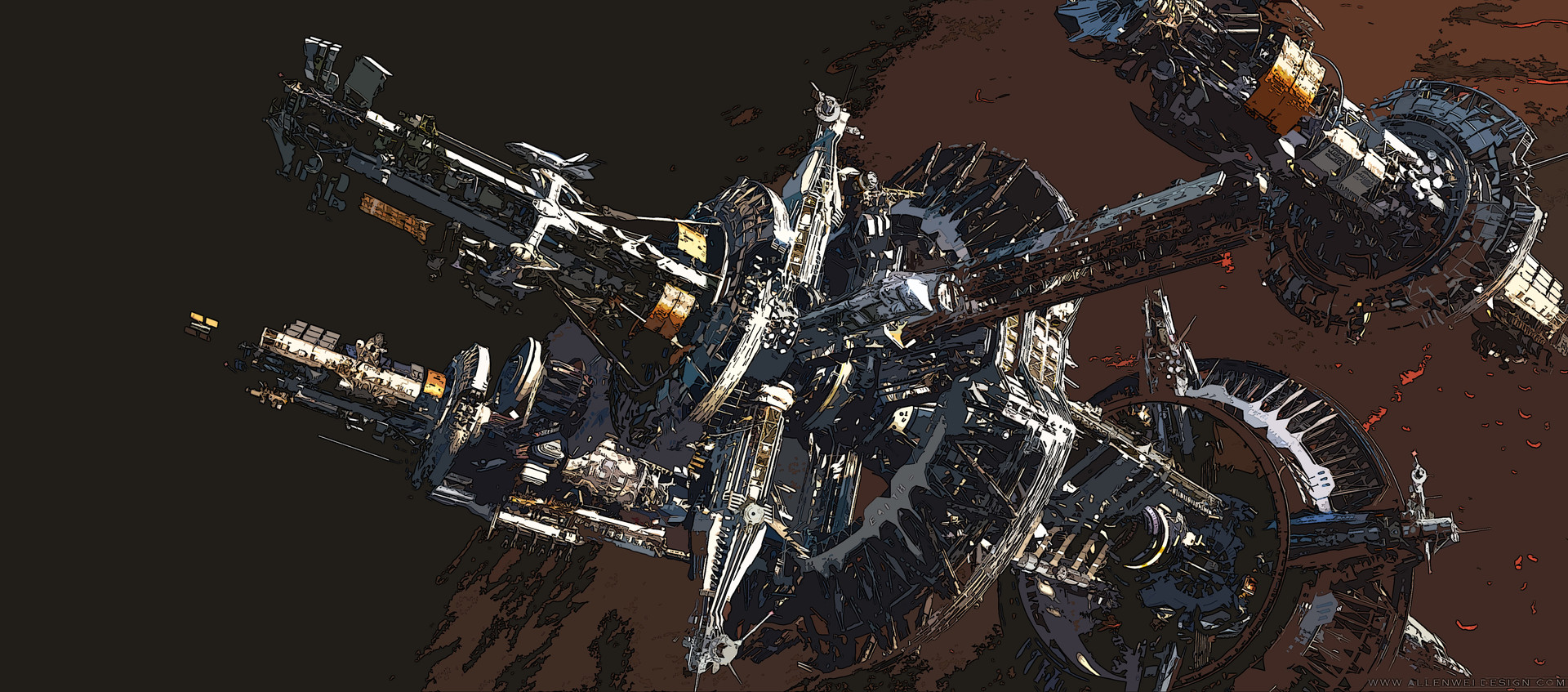Allen wei space station earth color cutout