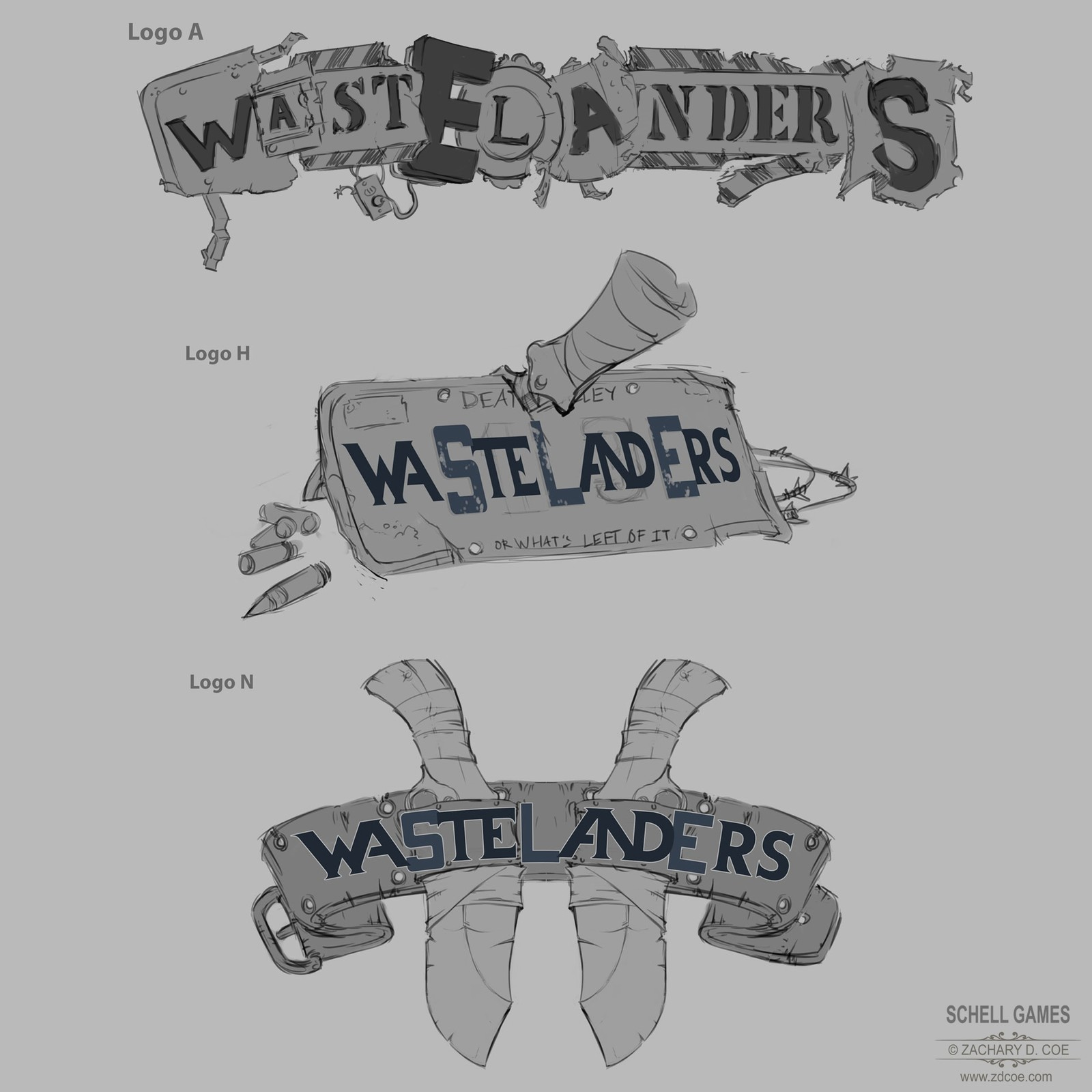 WASTELANDERS LOGO Sketches 2 by Zachary D. Coe