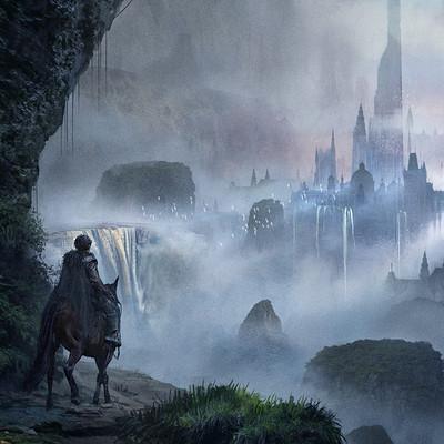 Florent llamas fantasy landscape