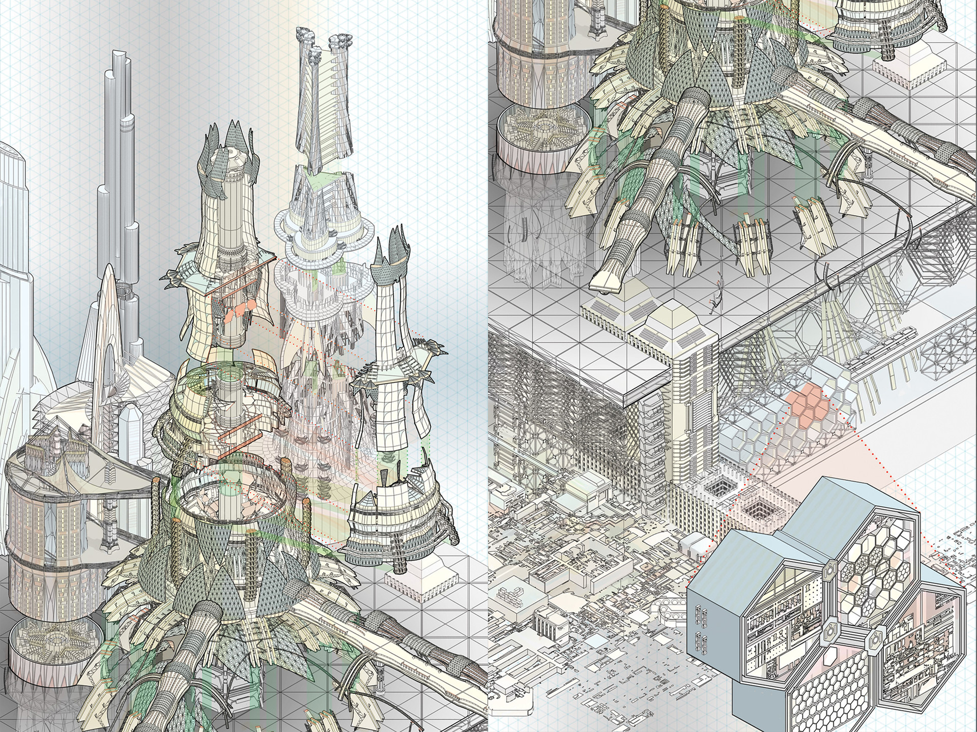 New Angeles Arcology Cutaway