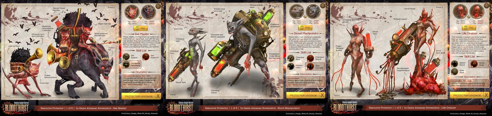 Vampiric creature designs and skills.