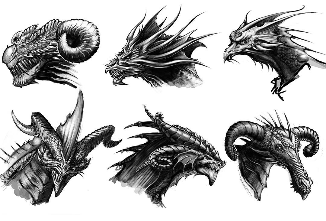 artstation dragon head sketches sean smailes