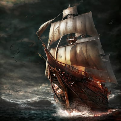 Pirateship in the storm