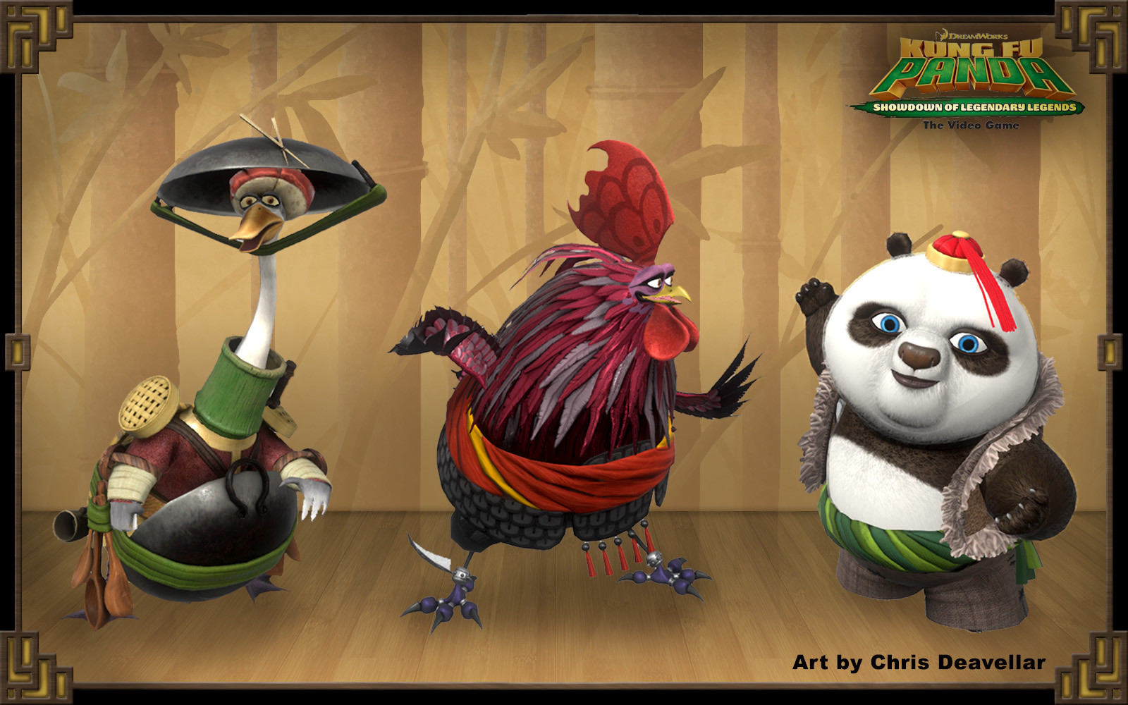 Armored Mr. Ping, Master Chicken, and Bao