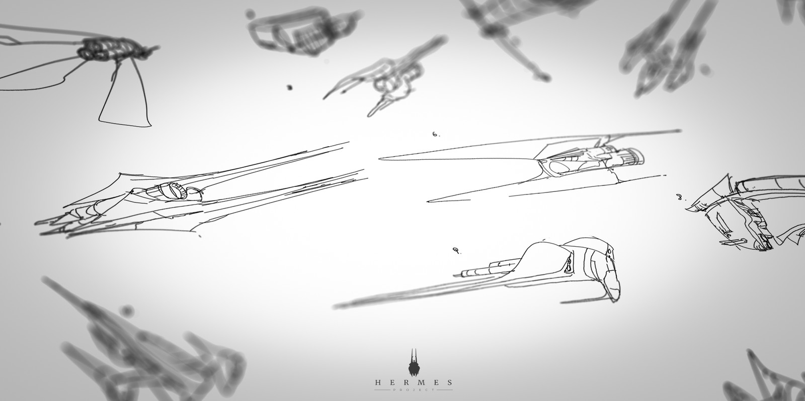 Rough sketches of the initial design of the ship