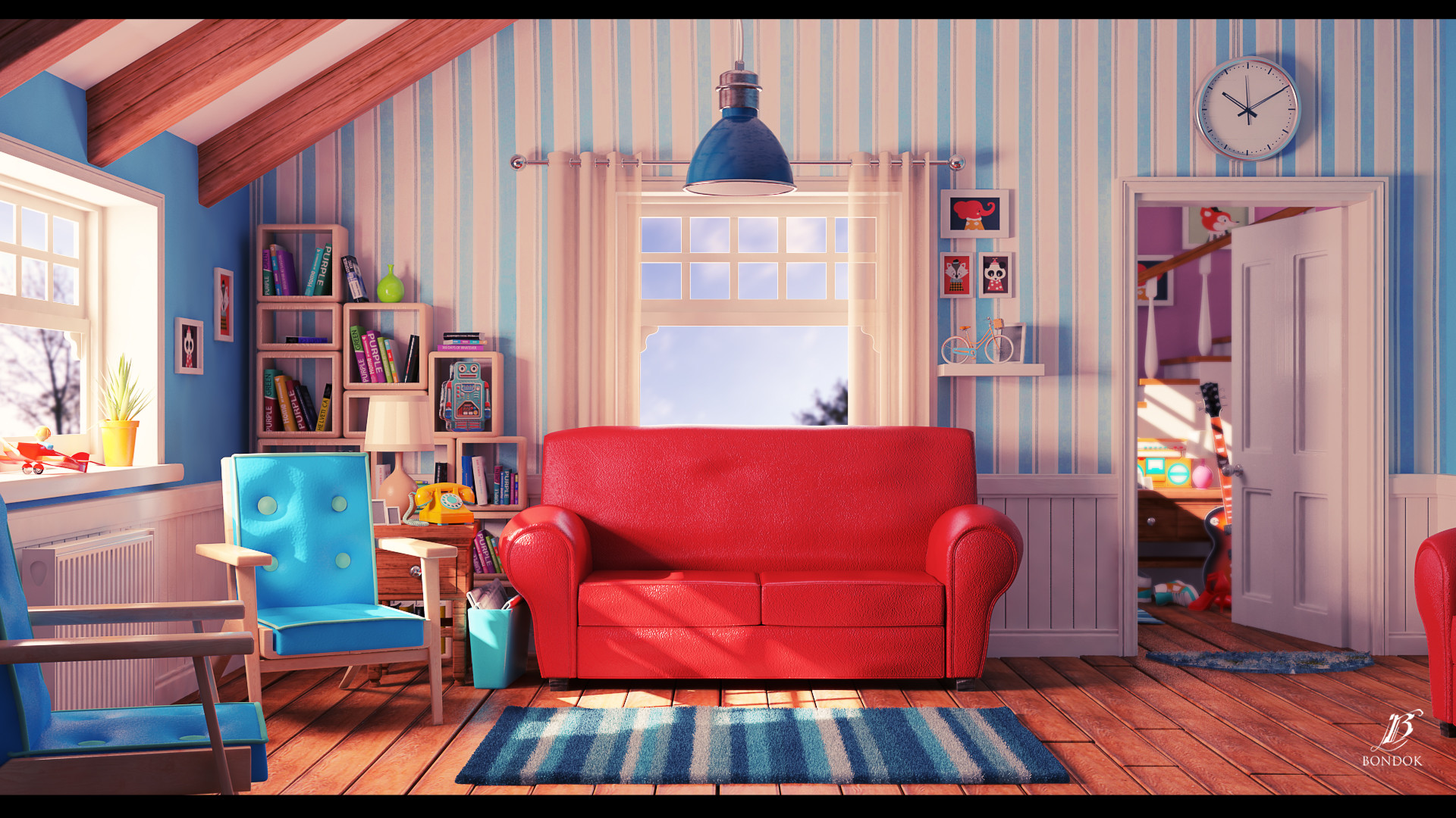 Artstation cartoon living room bondok max - Living room picture ...