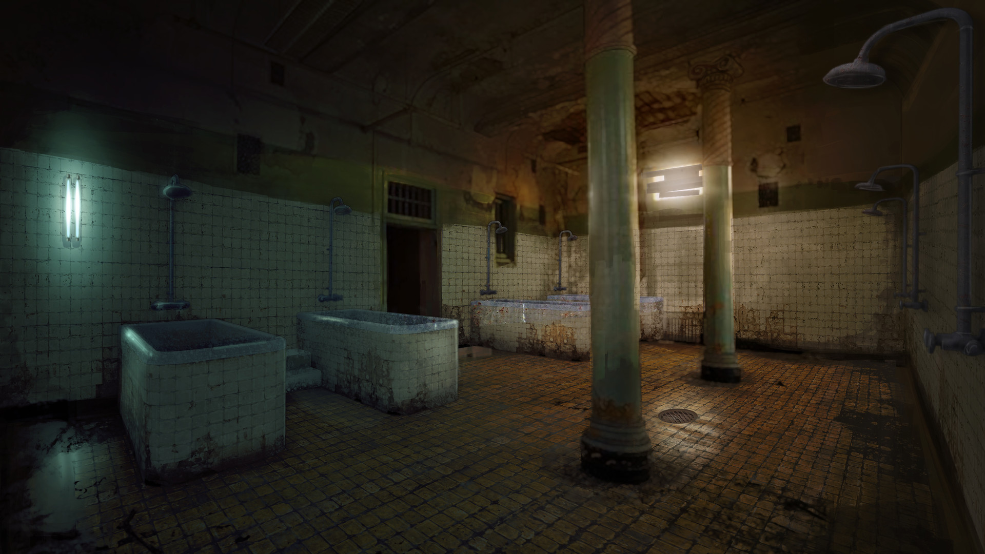 Artstation Abandoned Asylum Ablution Room Michael Kelly