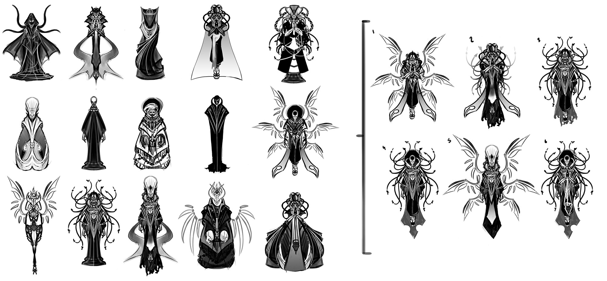Thumbnails to show the design process behind the final illustration.
