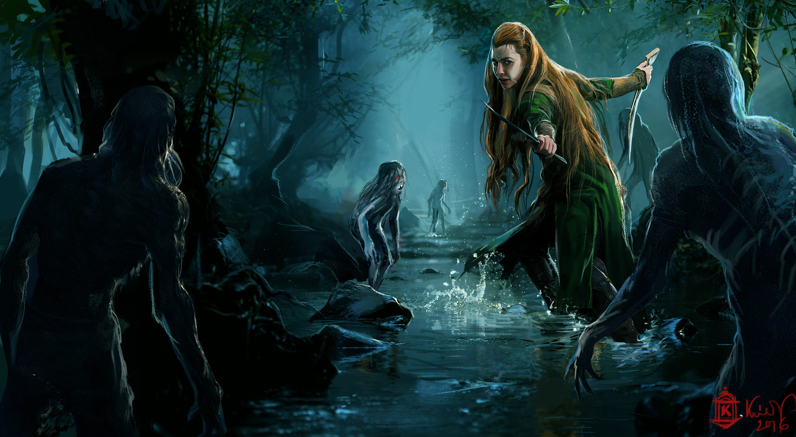 lady in a swamp land .