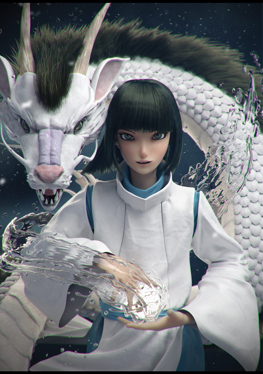Artstation Haku Spirited Away Graxious Art