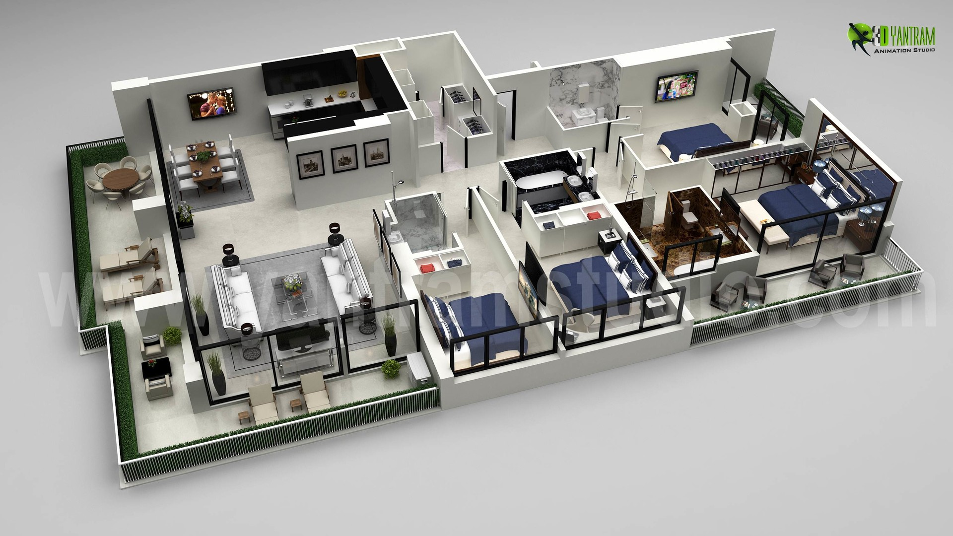 Artstation Beautiful Residential 3d Floor Plan By Architectural