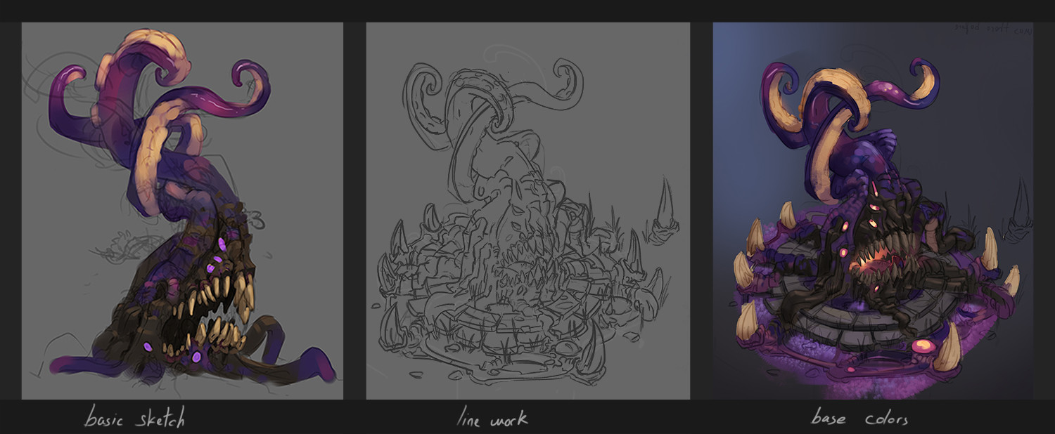 Process from sketch to final render
