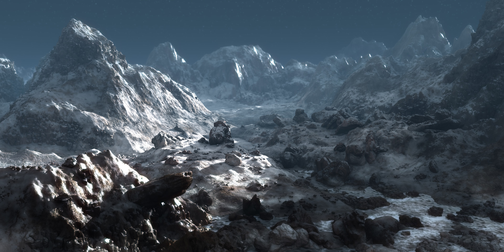 Render test of rocks and mountain assets.