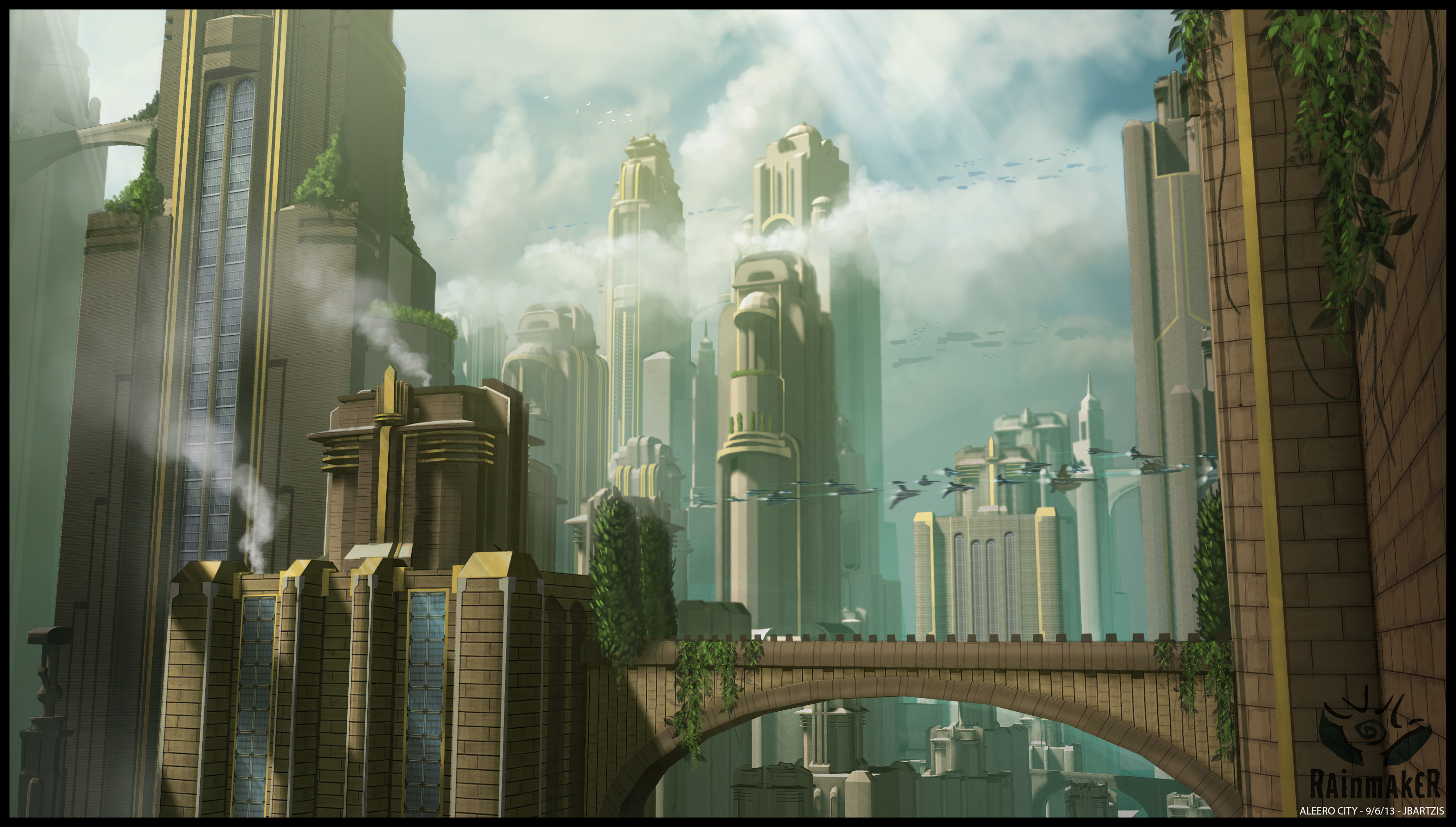 General est. shot of Aleero city. 3D models of the buildings were provided by Insomniac games.