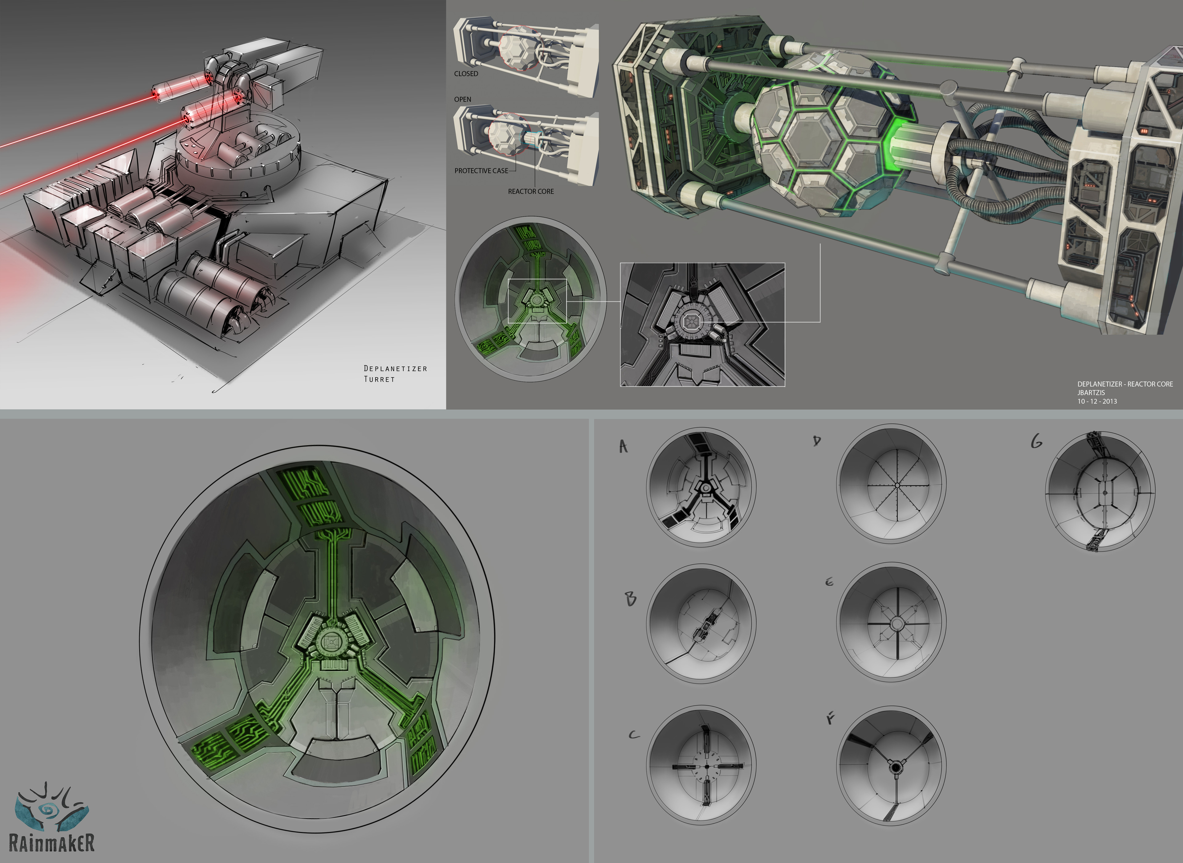 detail view of the deplanetizer reactor core and of the surrounding area. Also rough laser turret idea.