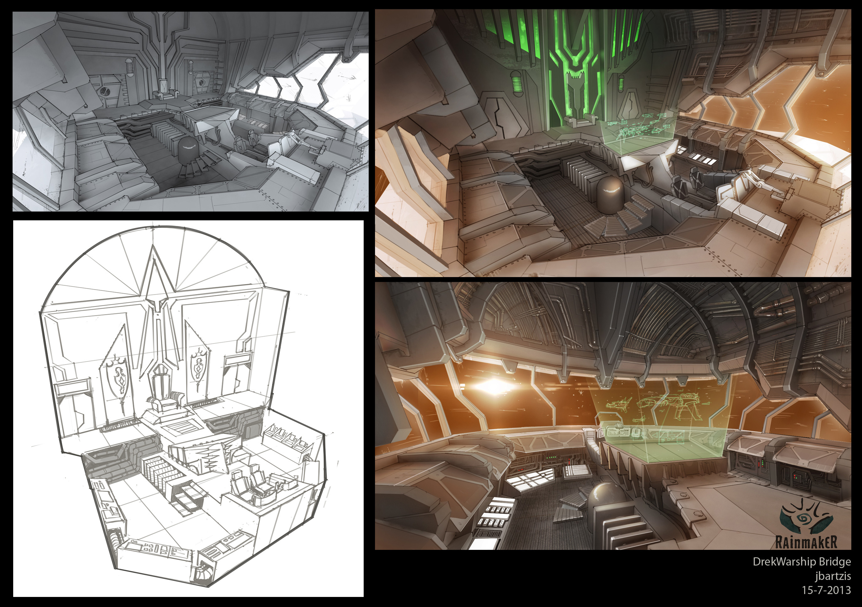 Interior set design of the Drek Warship cockpit area. and some early drawings