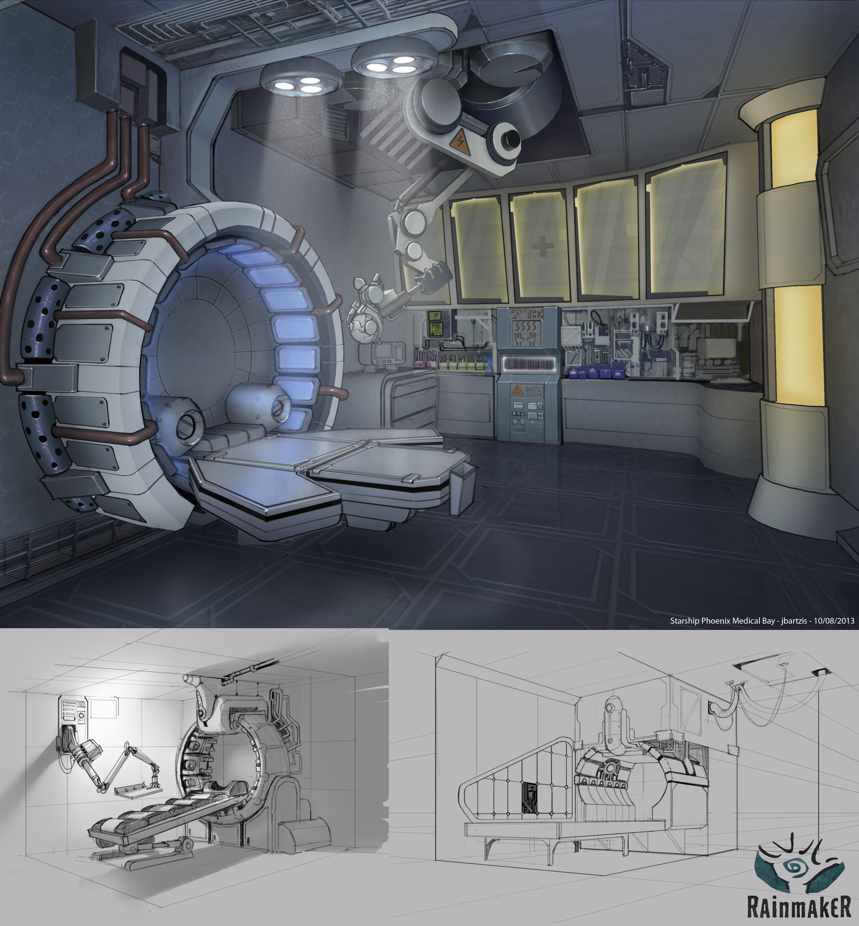 MedLab set design and early concept drawings.