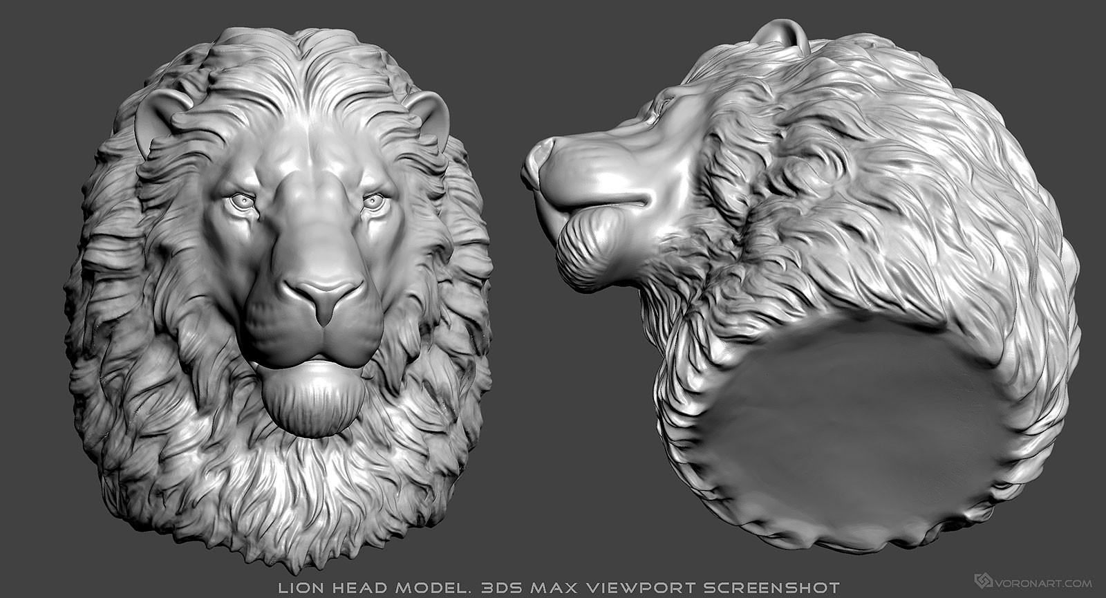 nikolay vorobyov lion head 3d model digital sculpture