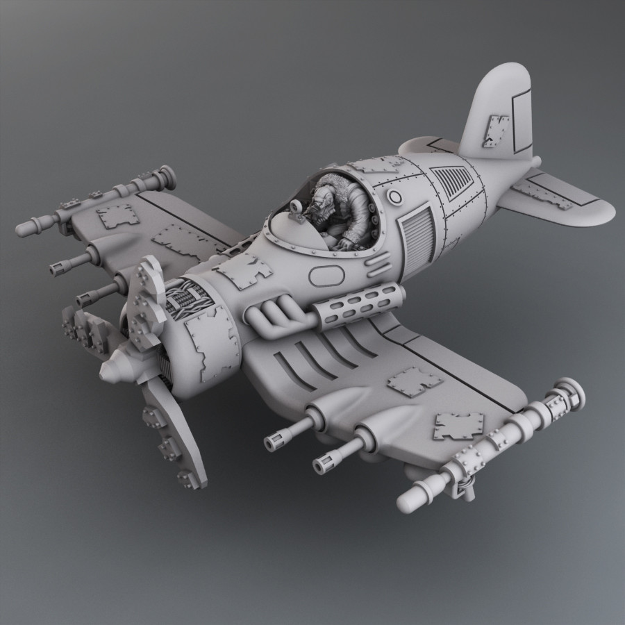 Ork pilot sculpted by Konrad Rogowski