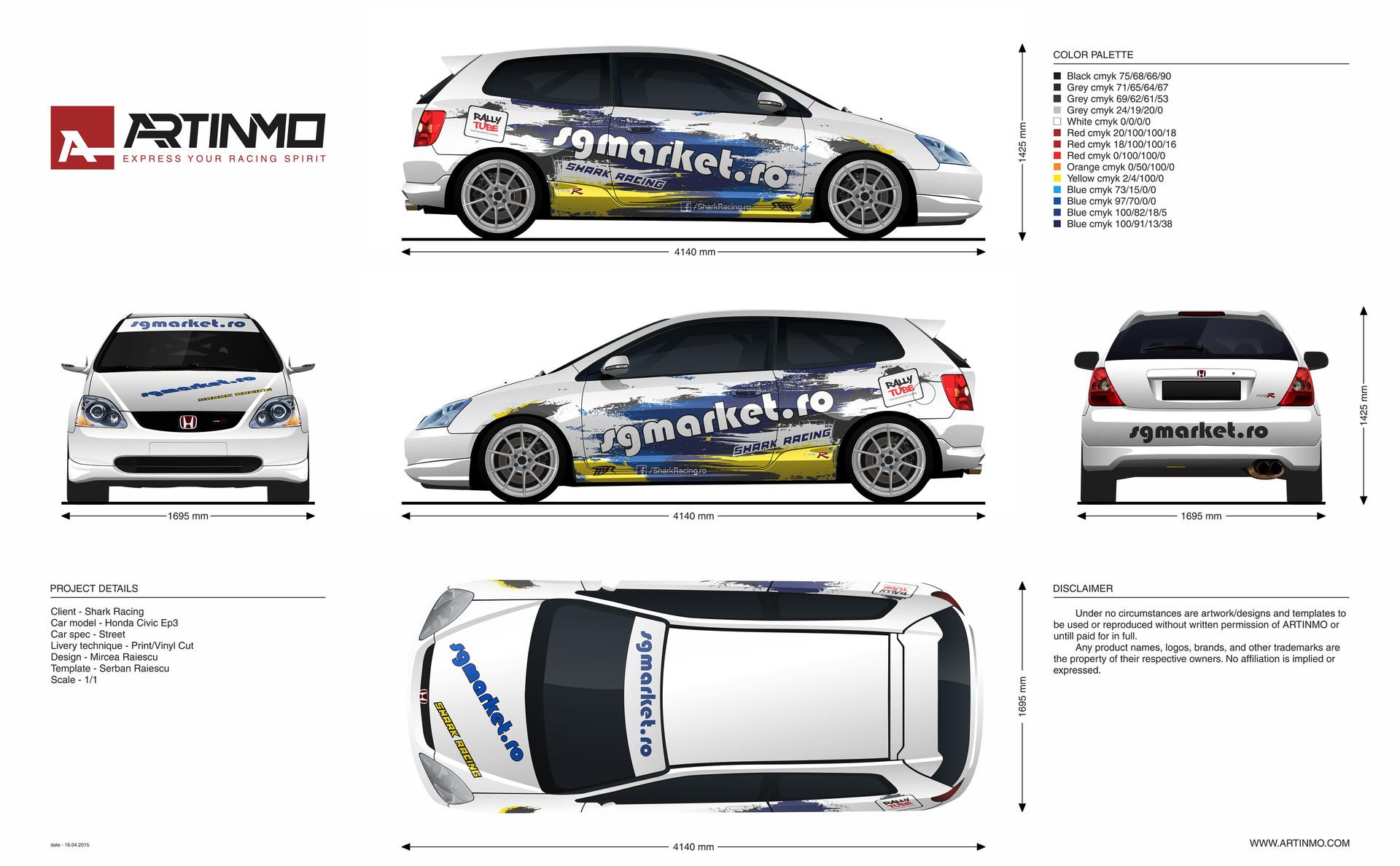 ArtStation - Honda civic ep3 shark racing training car, Mircea Raiescu