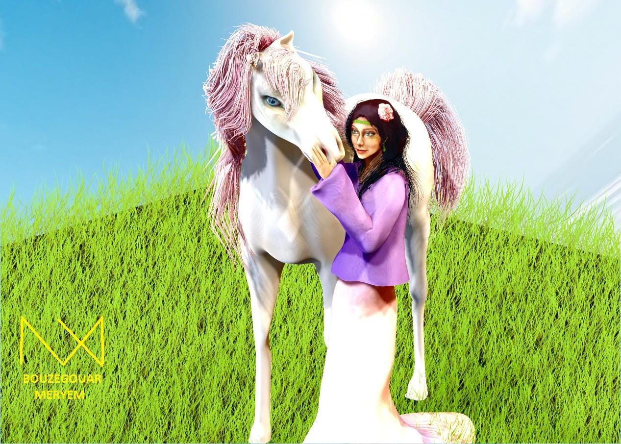ArtStation - [Digital Sculpting] 3D Character Girl and Horse