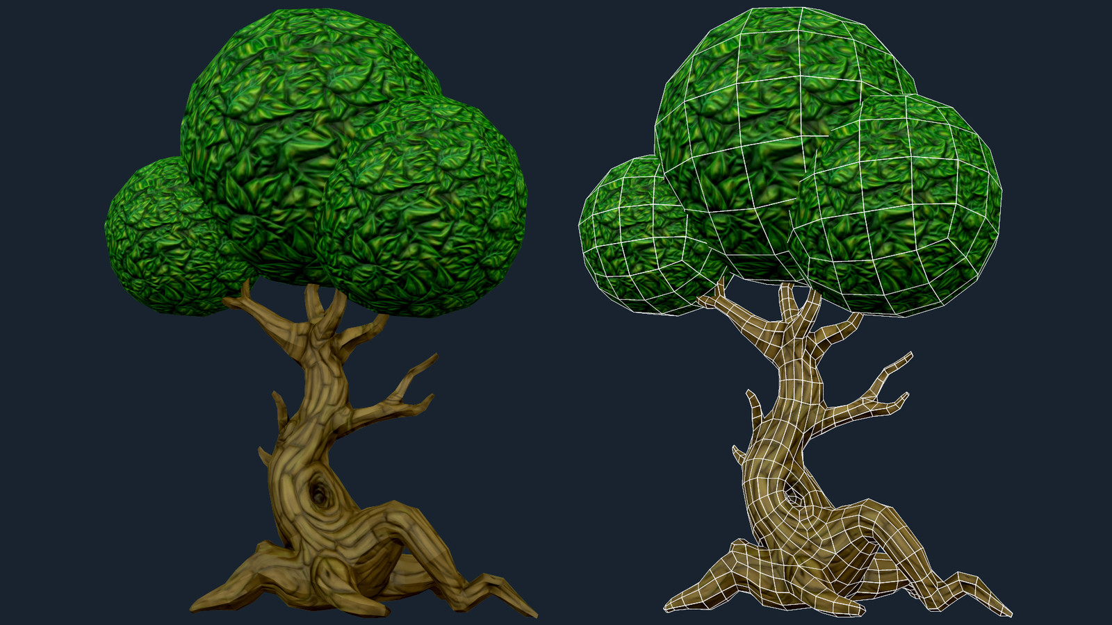 Low Poly Hand Painted Tree