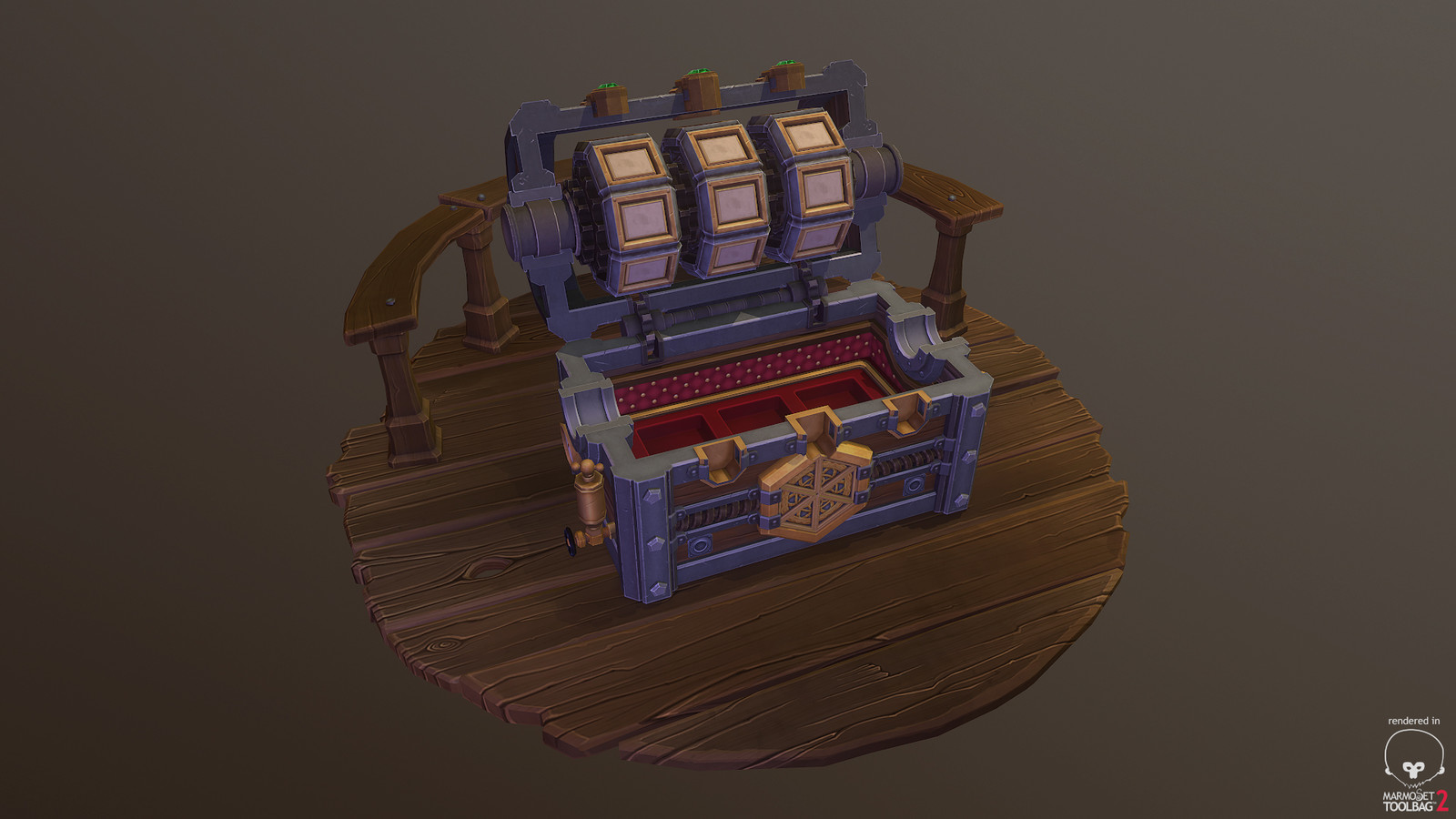 Uber Chest - Stage Two - Tumblers spin, land on symbols and then chest lid opens.