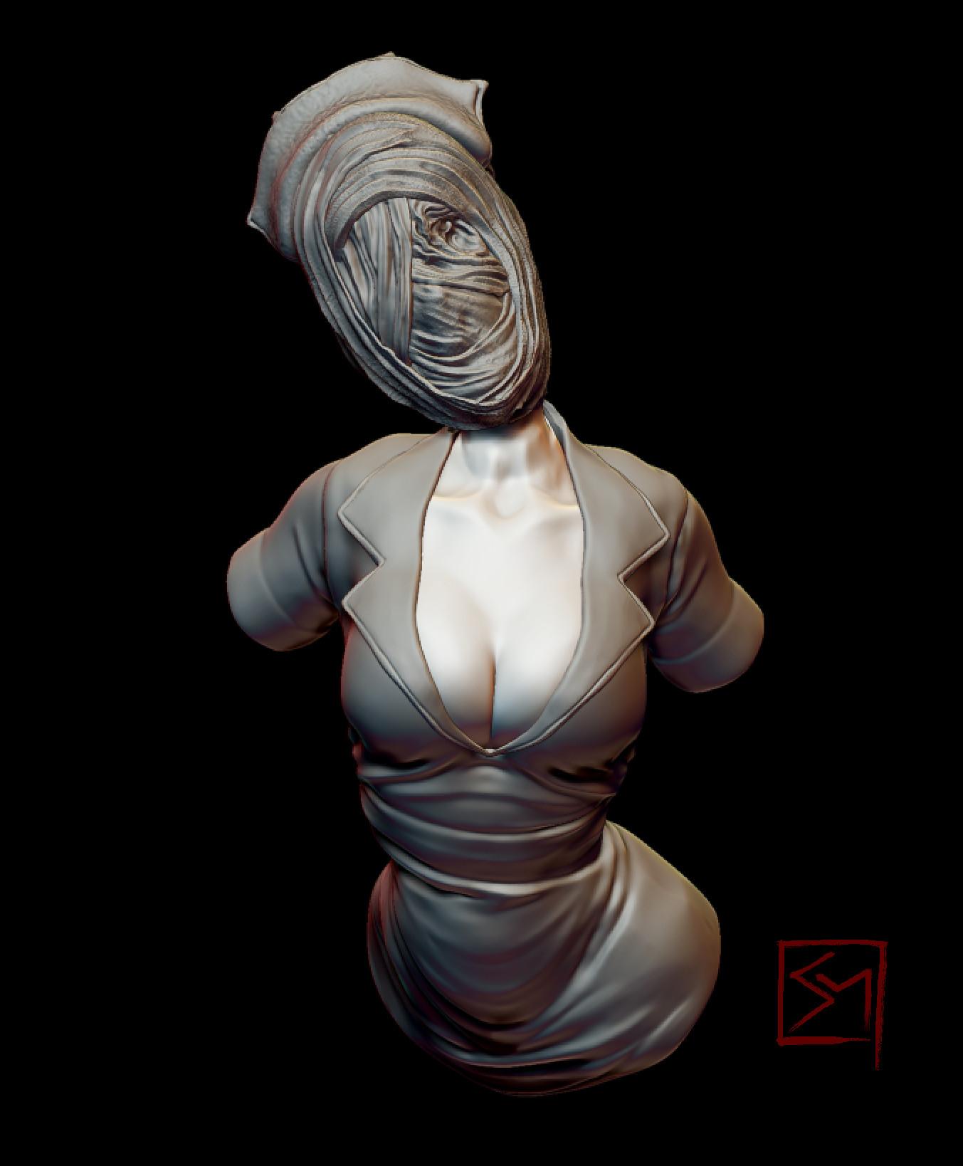 Artstation - Silent Hill Nurse Bust, Savannah Myers-3130
