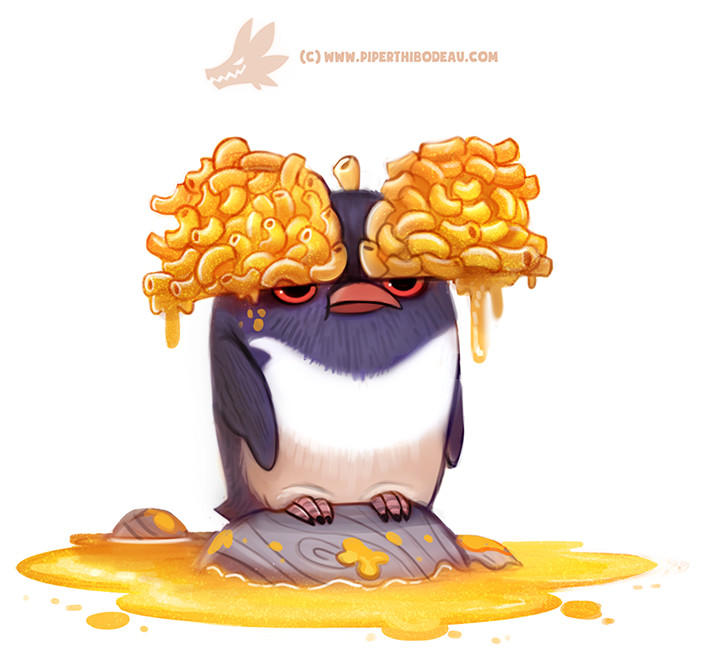 Penguin with actual macaroni on its head