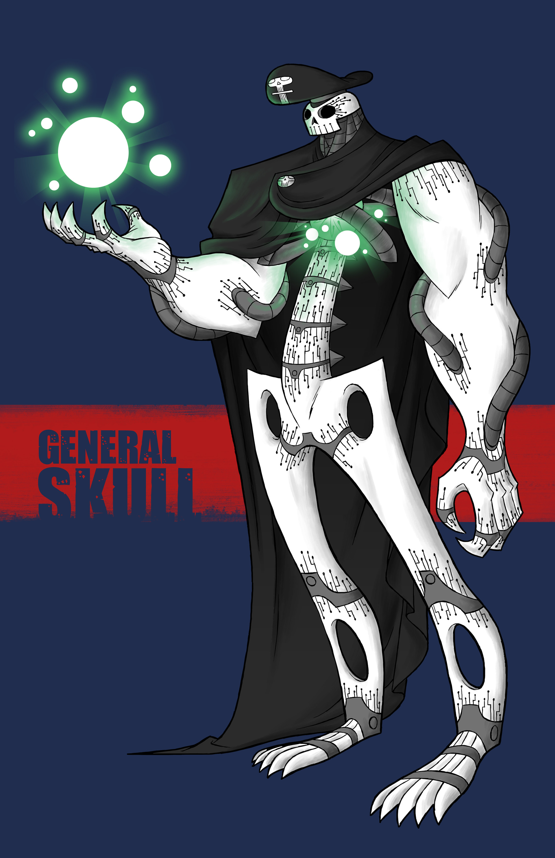 The incarnation of death itself and wilder of unimaginable power, General skull is a mighty and imposing being and is virtually unstoppable. Single minded in his lust for death, General Skull is hell bent on destroying all reality.