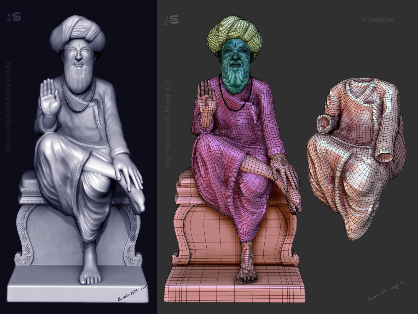 Surajit sen indian saint digital sculpt surajitsen india feb2016 clay wire