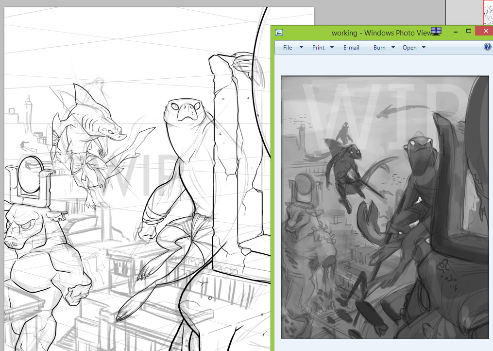 Inking and cleanup, rough thumbnail on the right.