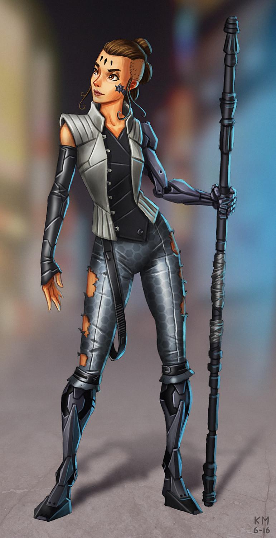 Rey from The Force Awakens - cyberpunk