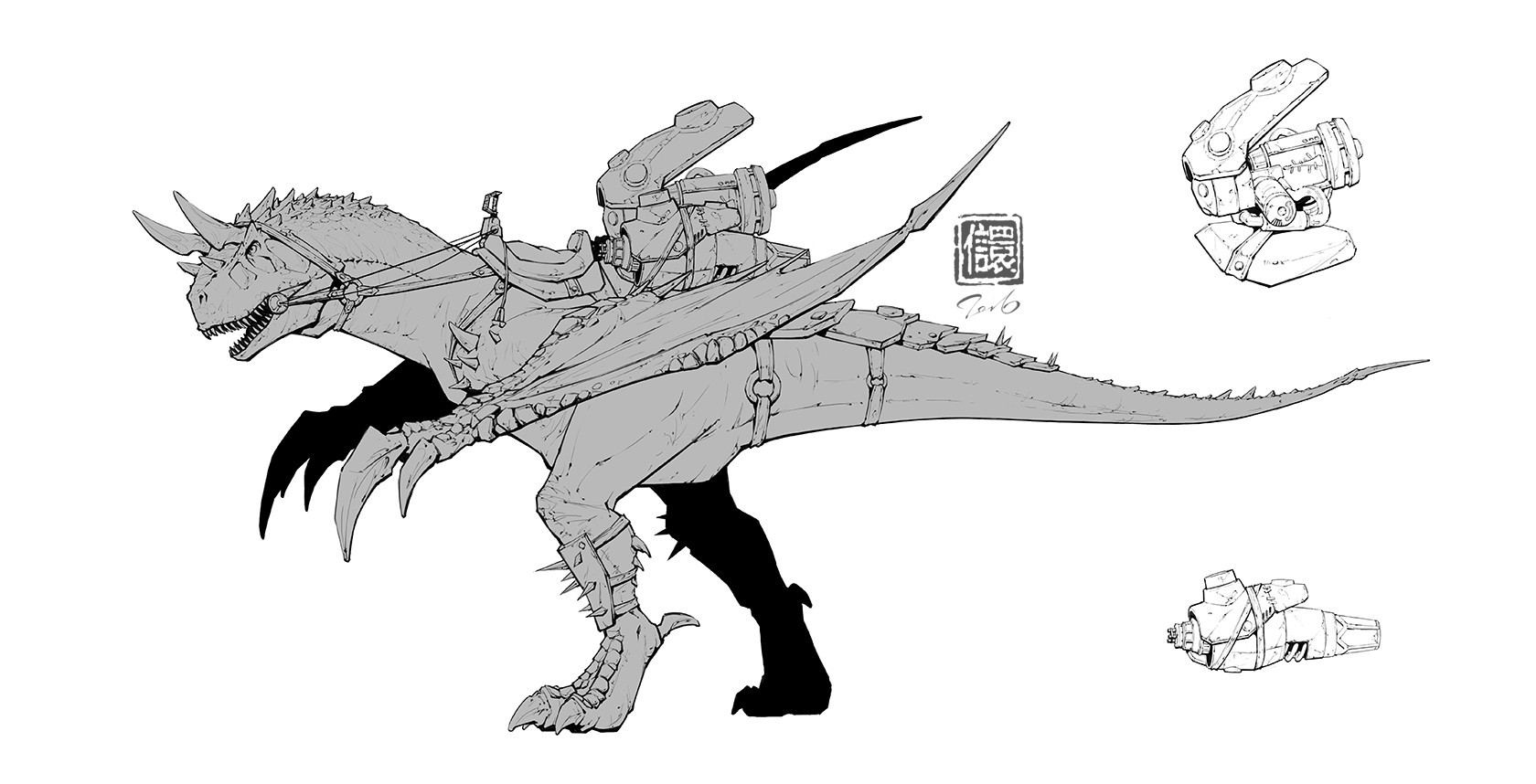 Kan liu 666k 007 early concept art of carno