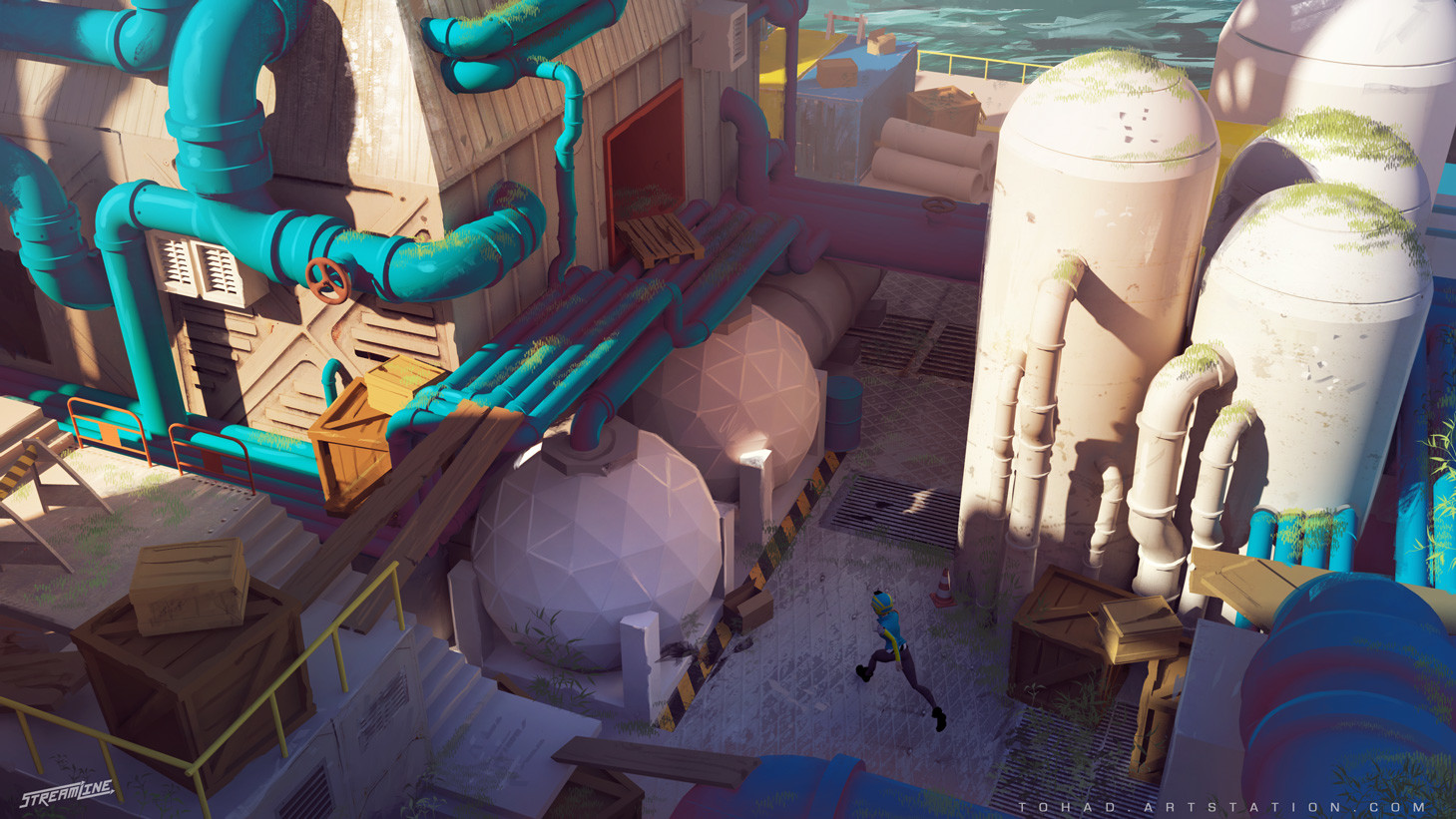 Streamline concept-art : pipes and concrete