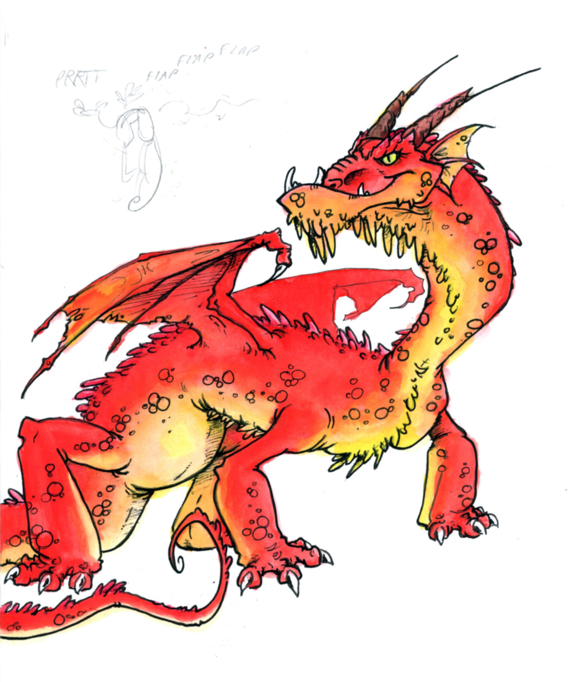 Vanesa gonzalez red dragon watercolour