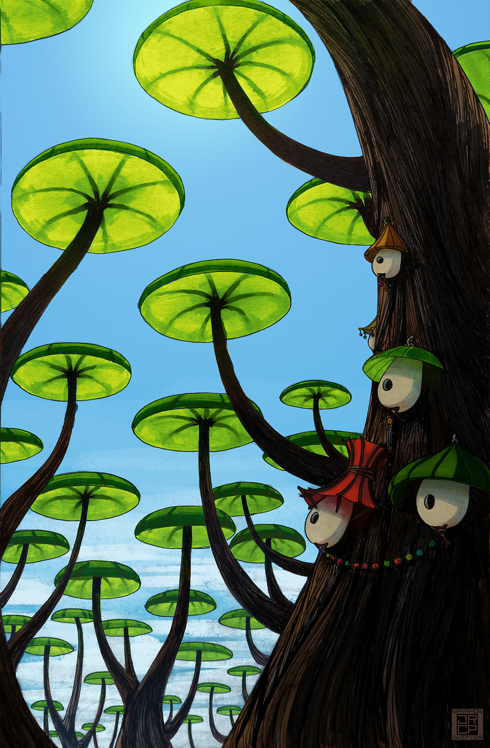 Cute houses on a lily pad tree. Colored in Photoshop.