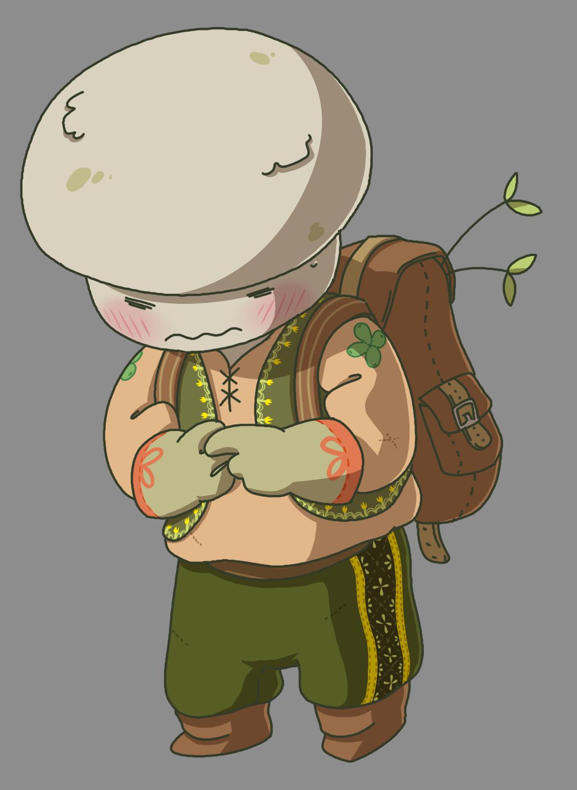 A shy mushroom gardener.