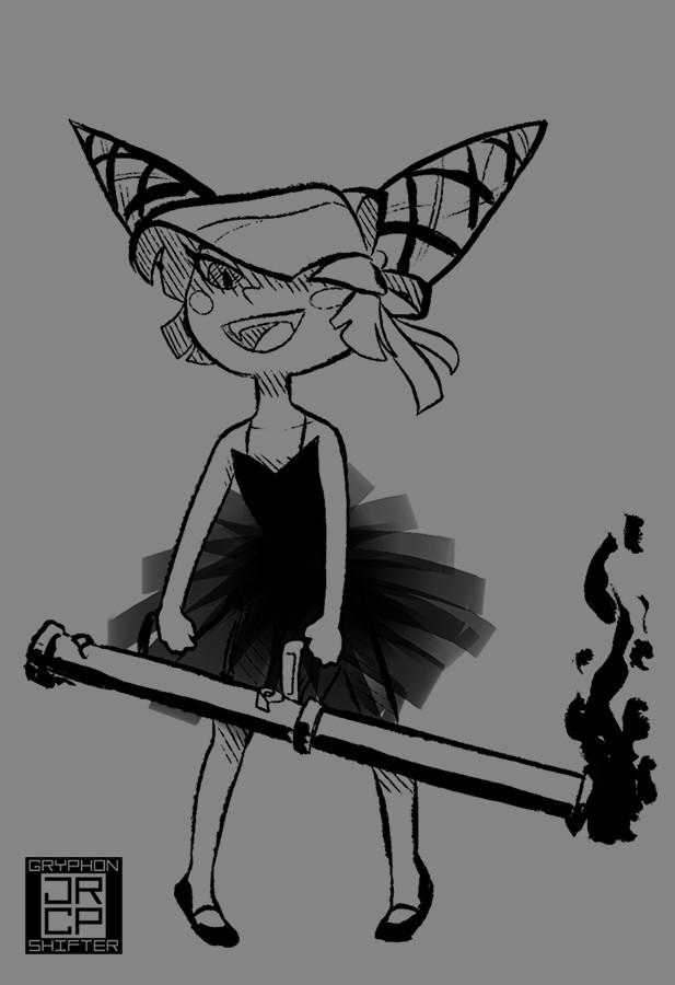 Destructive ballerina character sketch.