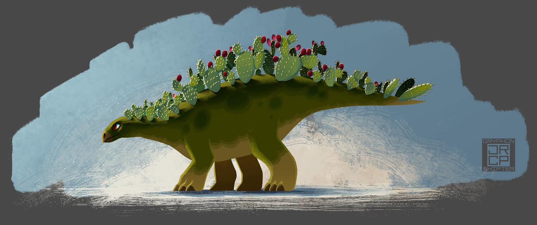 Initial idea for a prickly pear stegosaurus.