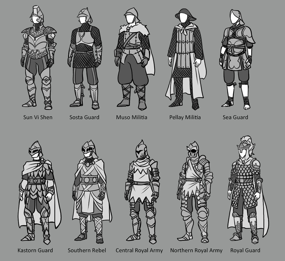Armor from different regions.
