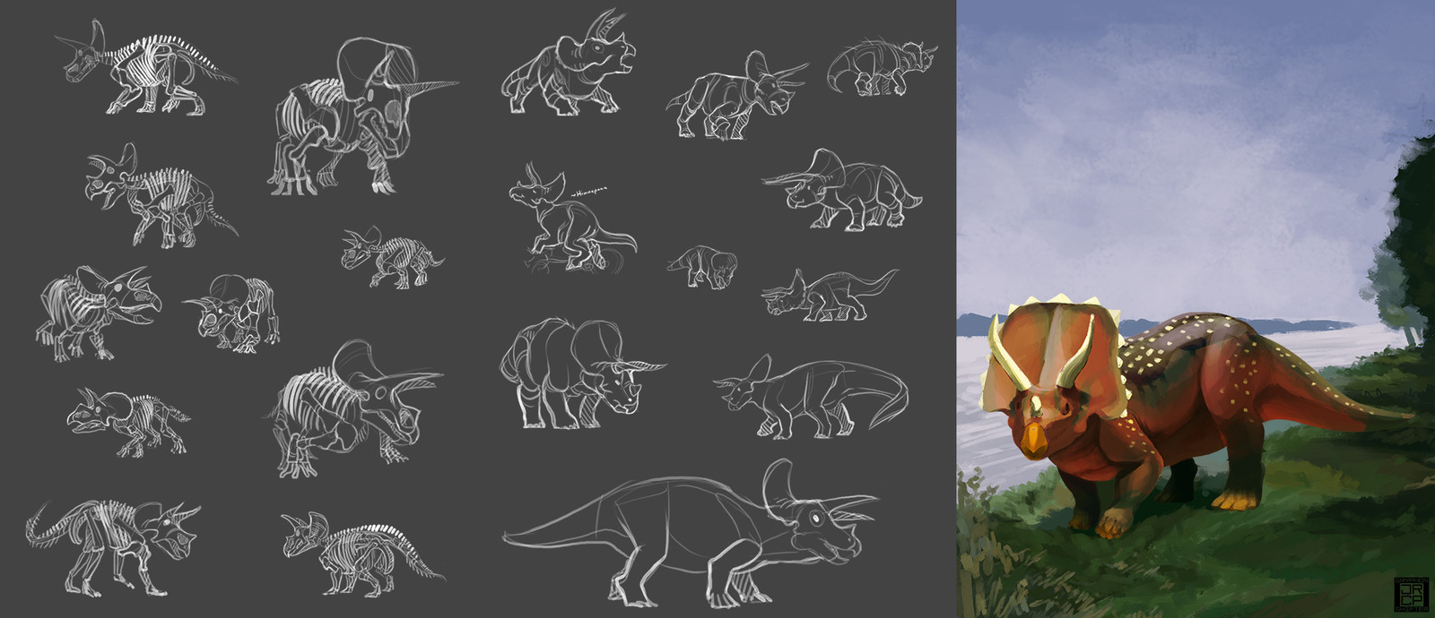 8: Triceratops styled after the illustration by Charles Knight.