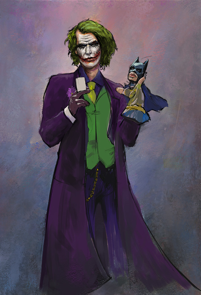 Oliver wetter joker and batman underpainting small
