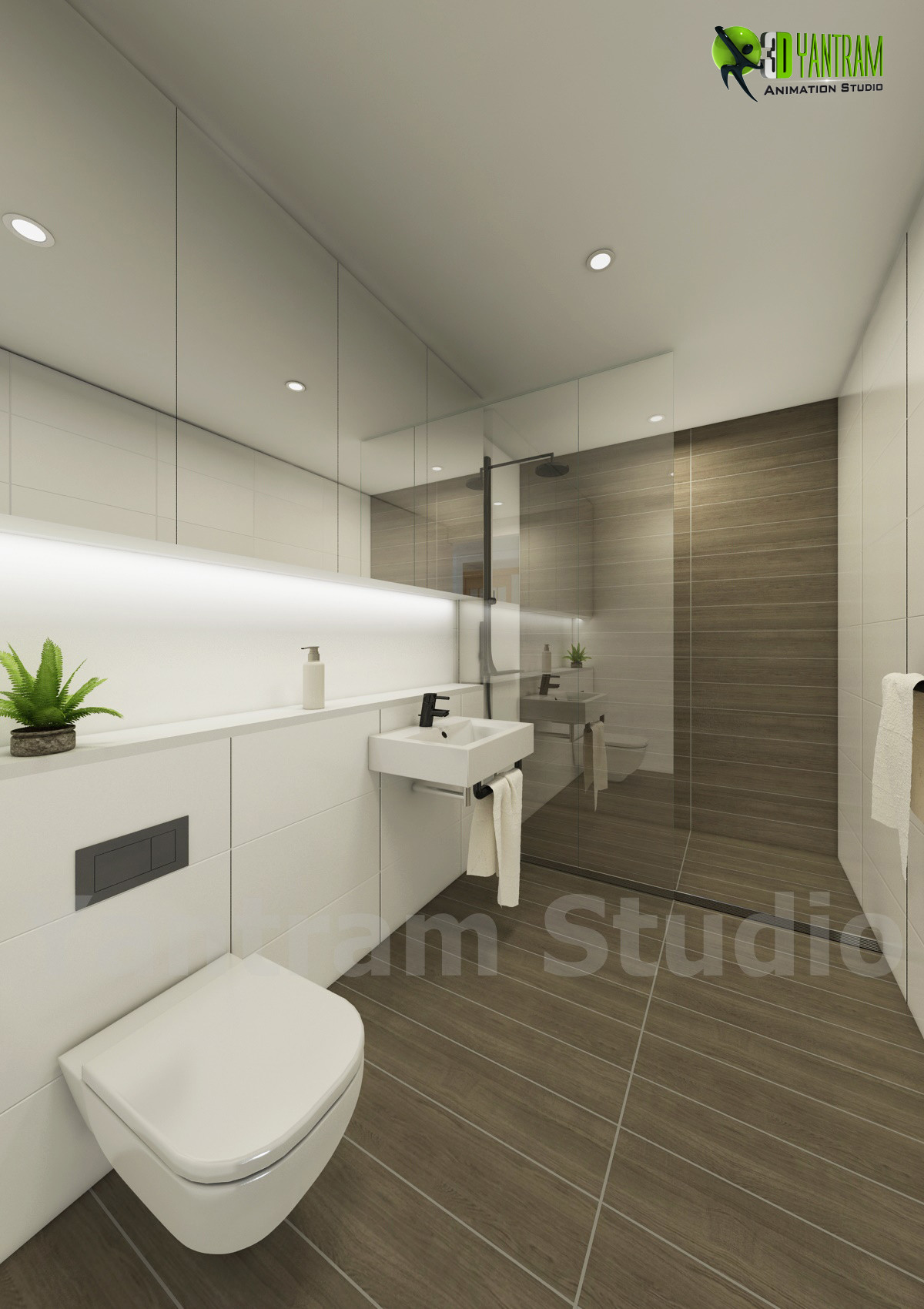 Artstation 3d Modern Bathroom Interior Design Mexico Yantram Architectural Design Studio