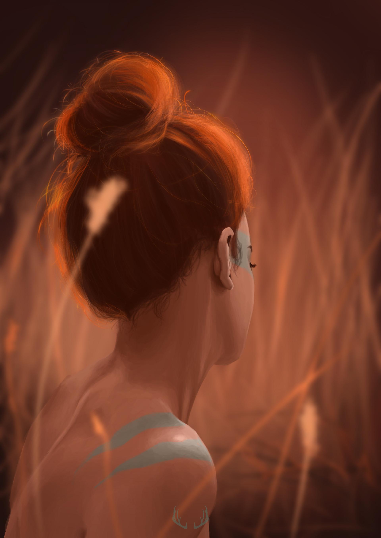 голой полоборота спиной с картина в девушка