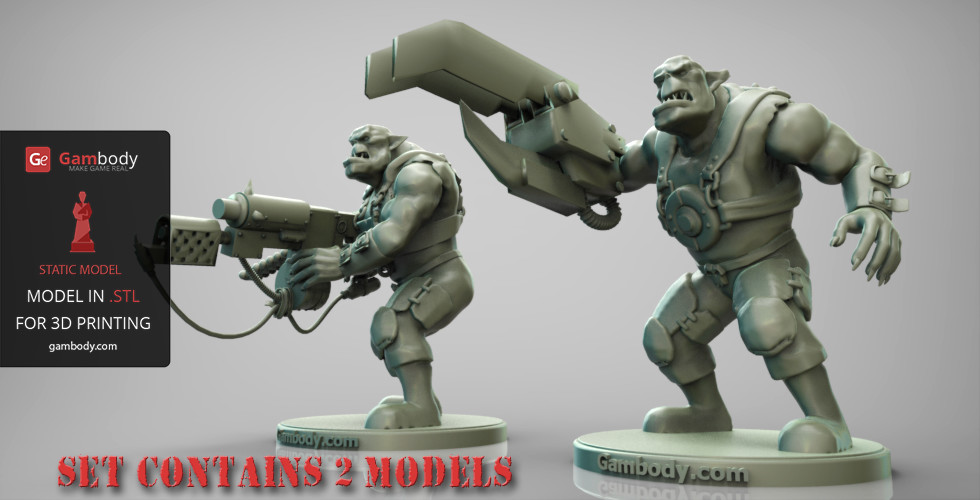 graphic relating to 3d Printable Figures named ArtStation - 3D Printable Orks Greenskins 2 Sets - Versions