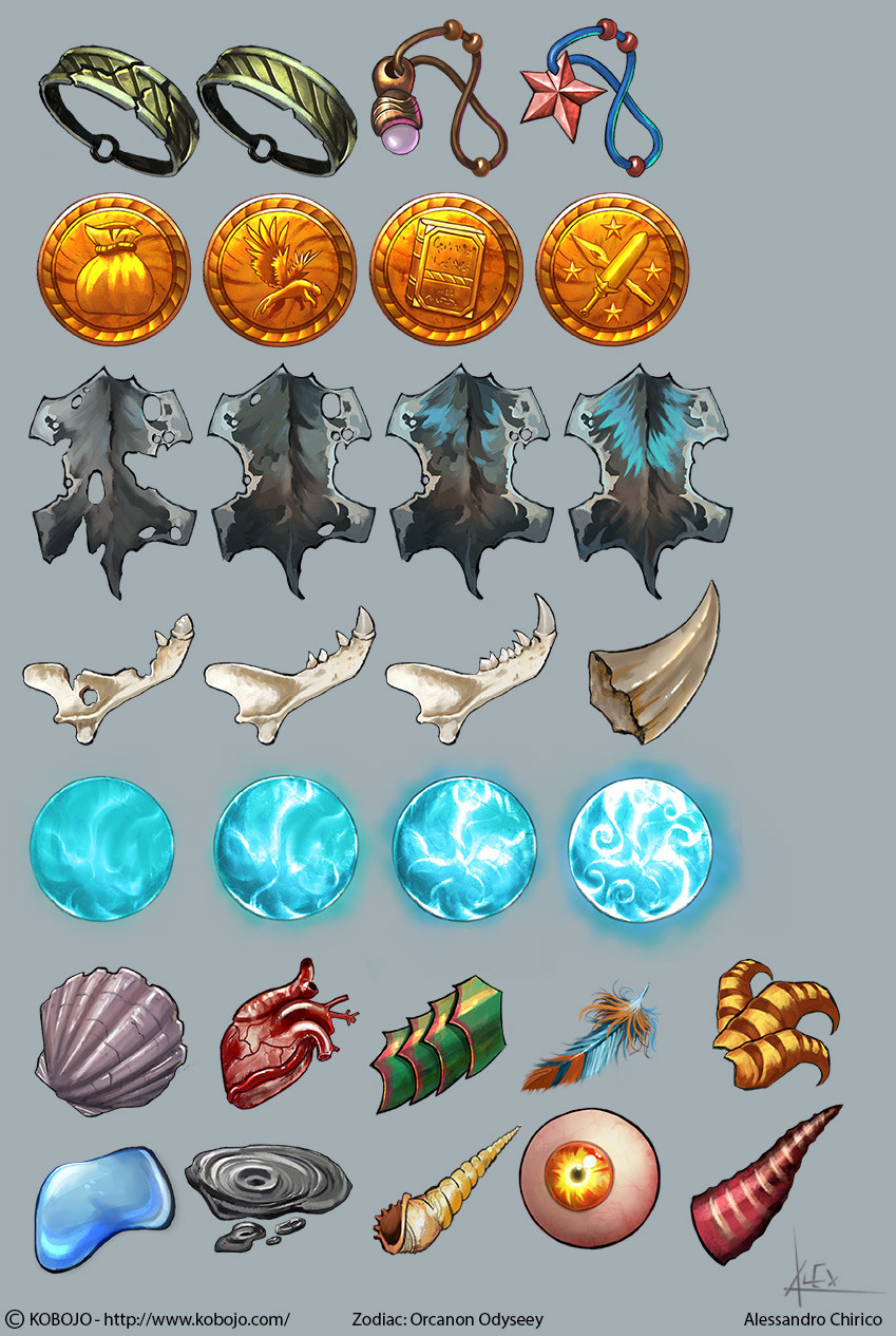 Some of the many icons I have created for the game