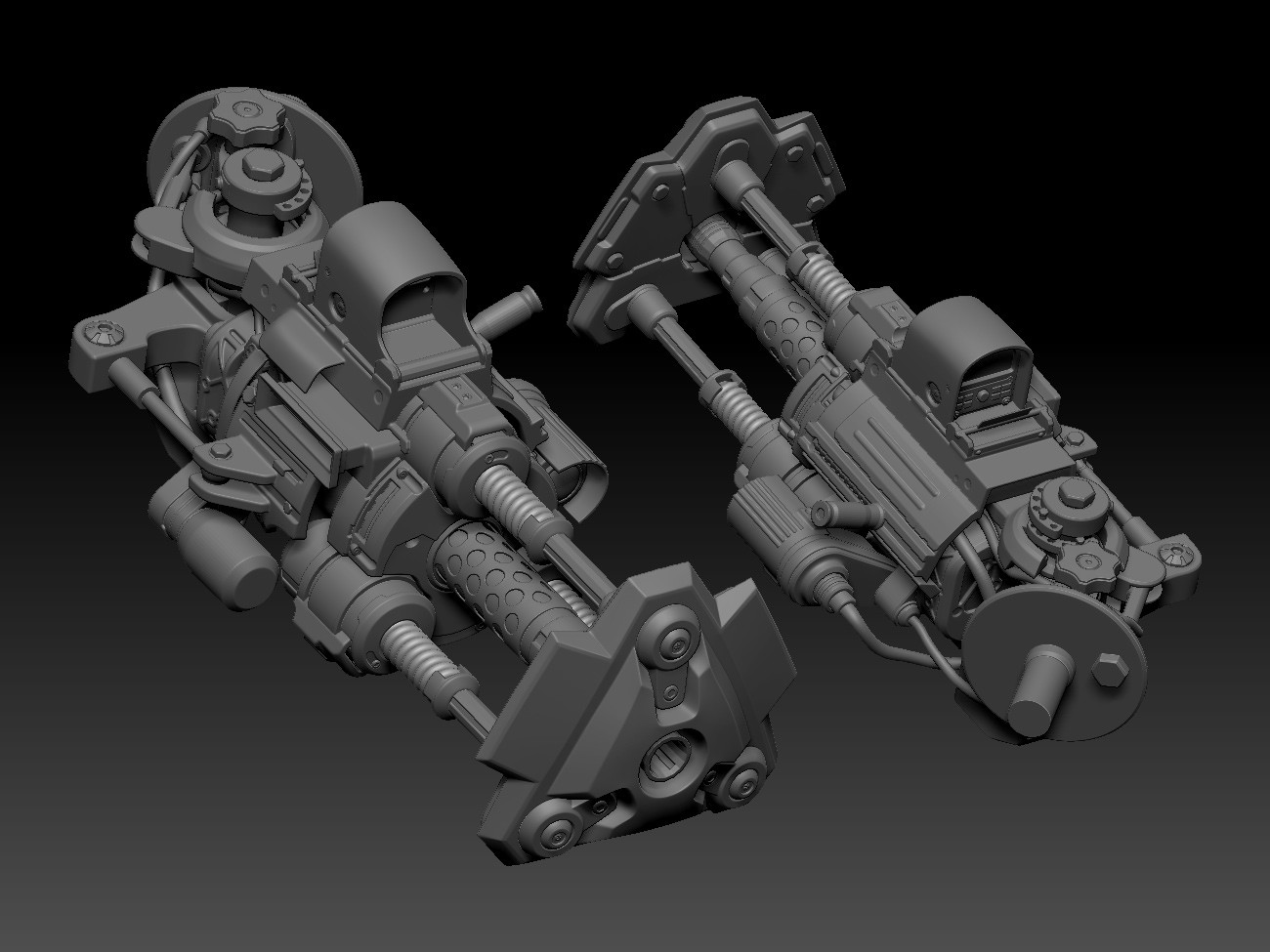 Weapon pretty much finished; spring loaded battering ram shield with a pretty hefty gun nestled inside