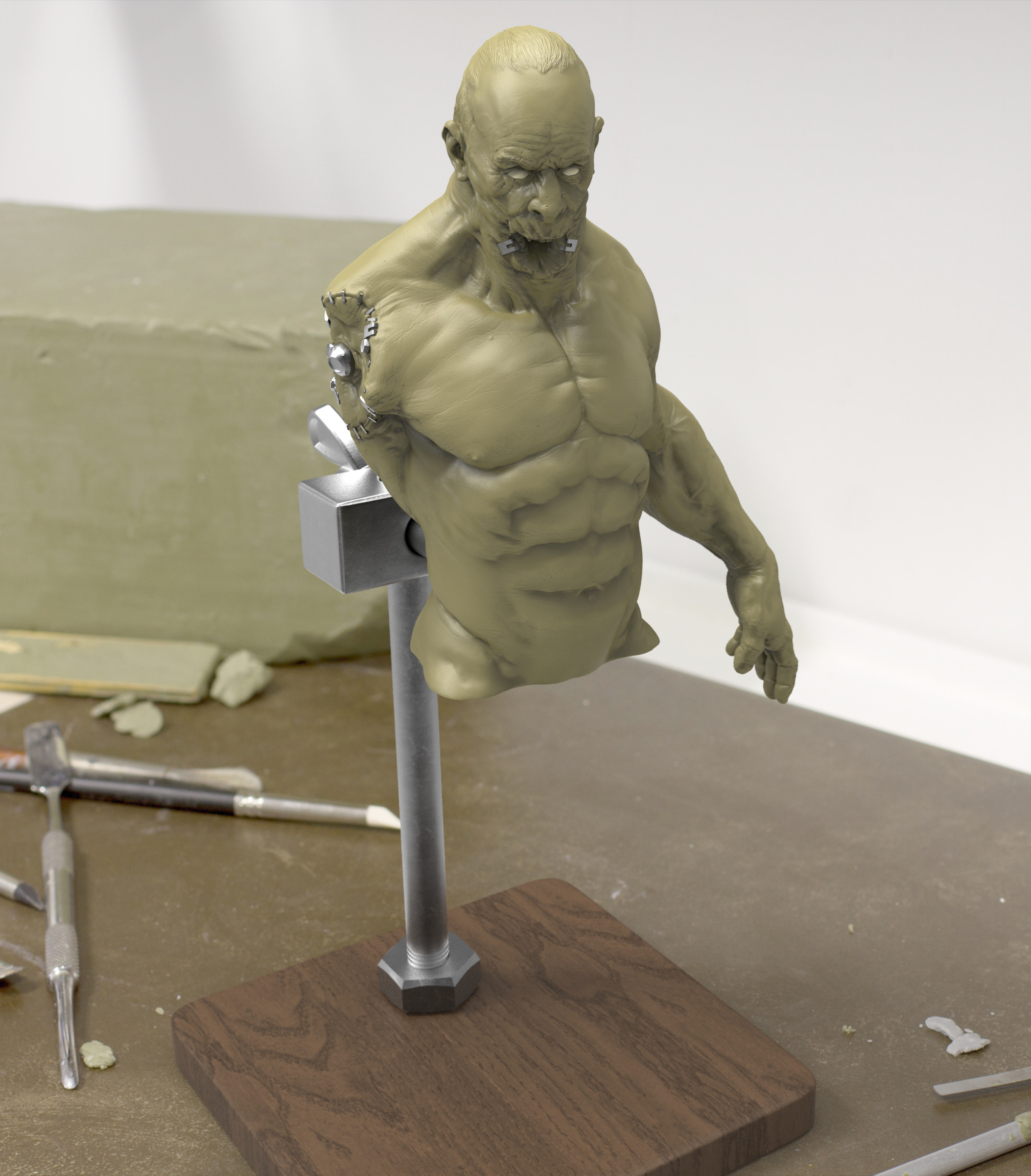 custom base modeled in zbrush; see the video further down for the render breakdown and creation